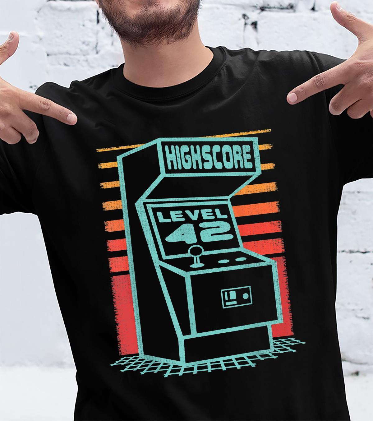 42 Geburtstag 42 Jahre alt Retro Gamer Level Up entsperrt Shirt