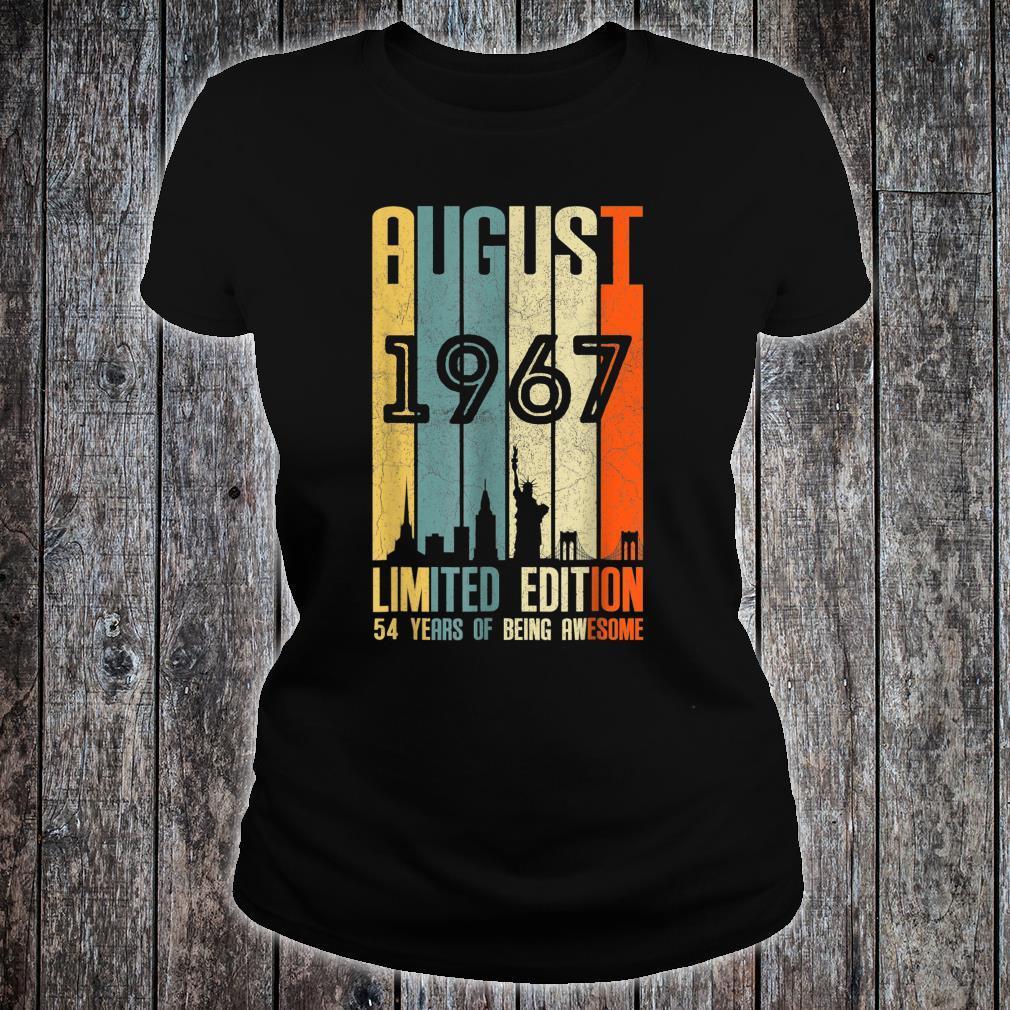 August 1967 54 Birthday 54 Year Old 1967 Birthday Vintage Shirt ladies tee