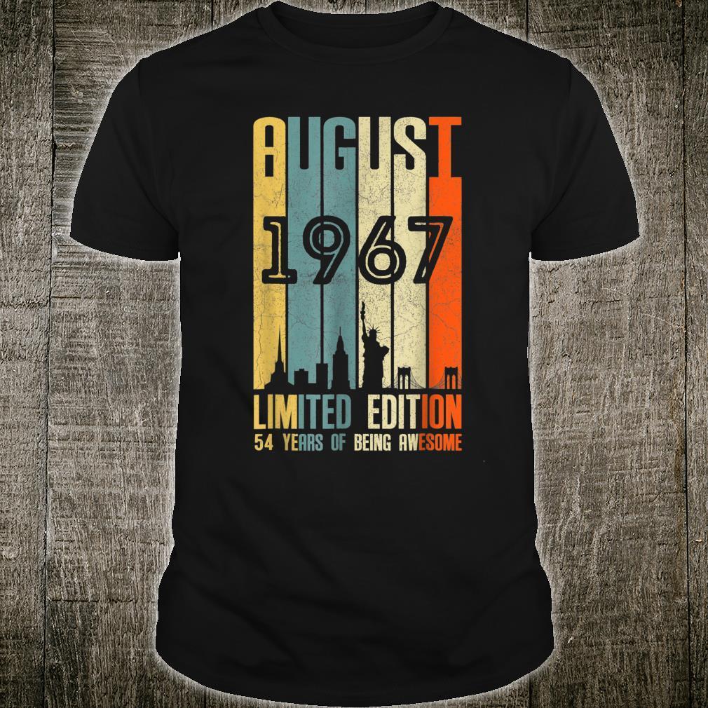 August 1967 54 Birthday 54 Year Old 1967 Birthday Vintage Shirt