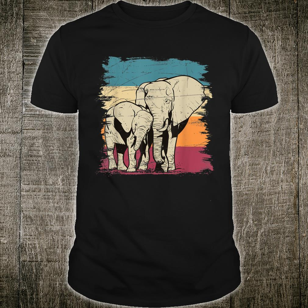 Cute Africa Animal Elephant Family Retro Elephant Shirt