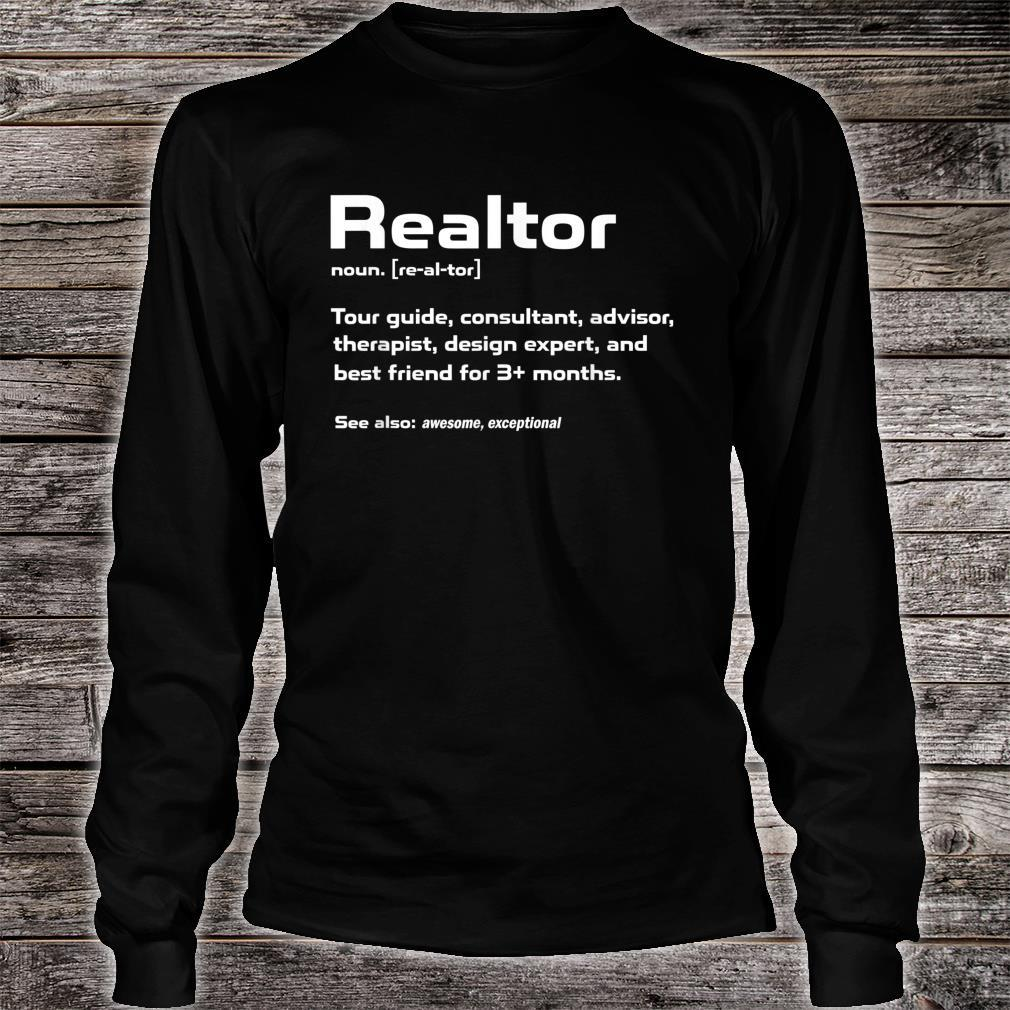Funny Definition The Realtor For Real Estate Agent Shirt long sleeved