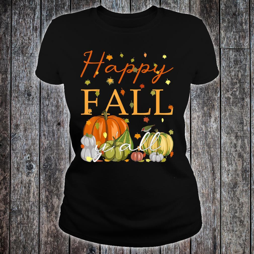 Happy Fall Y'All Lustiger Kürbis & Herbstblätter Thanksgiving Shirt ladies tee