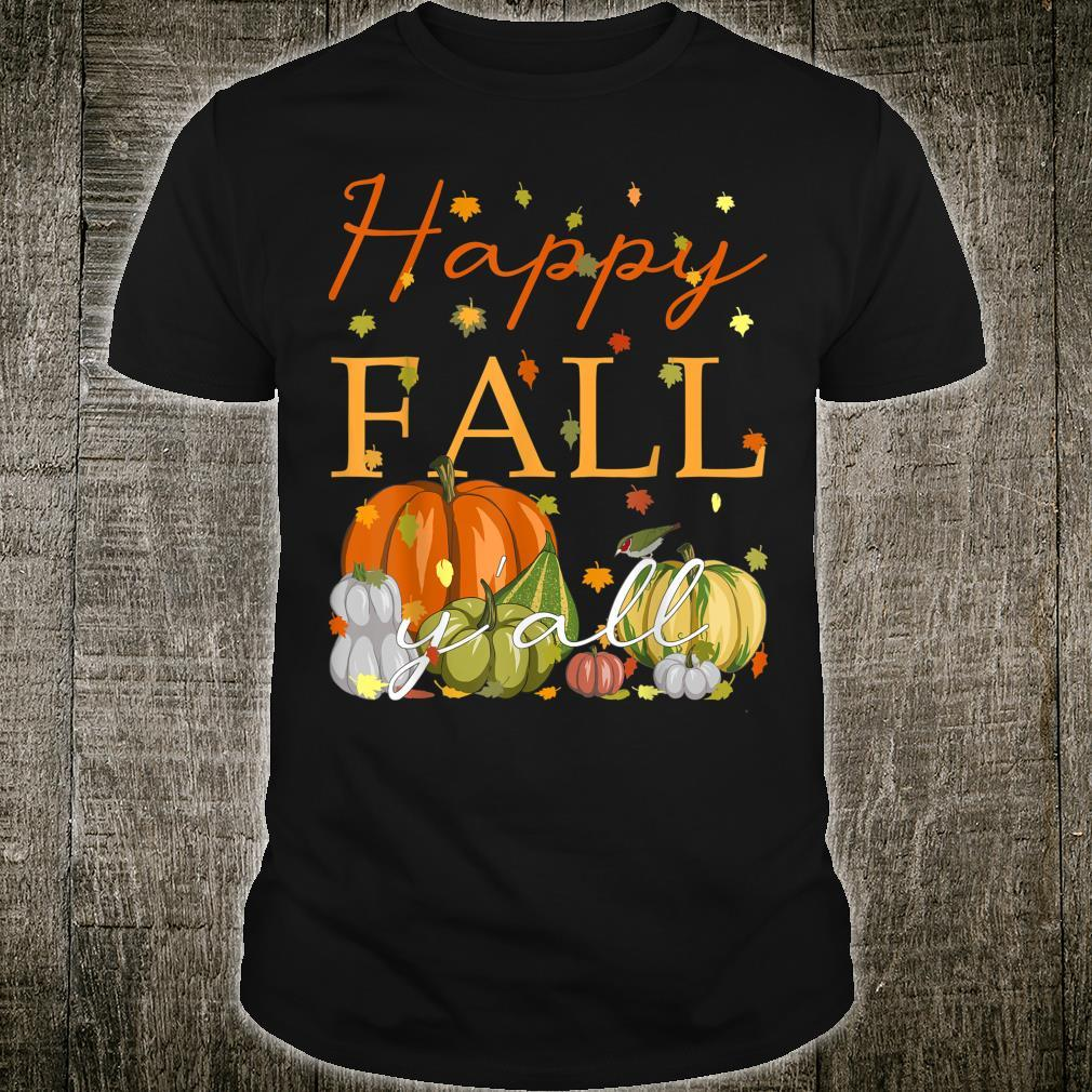Happy Fall Y'All Lustiger Kürbis & Herbstblätter Thanksgiving Shirt