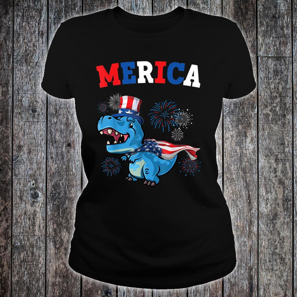 Merica Abe Lincoln TRex Dinosaur Shirt For 4Th Of July Shirt ladies tee