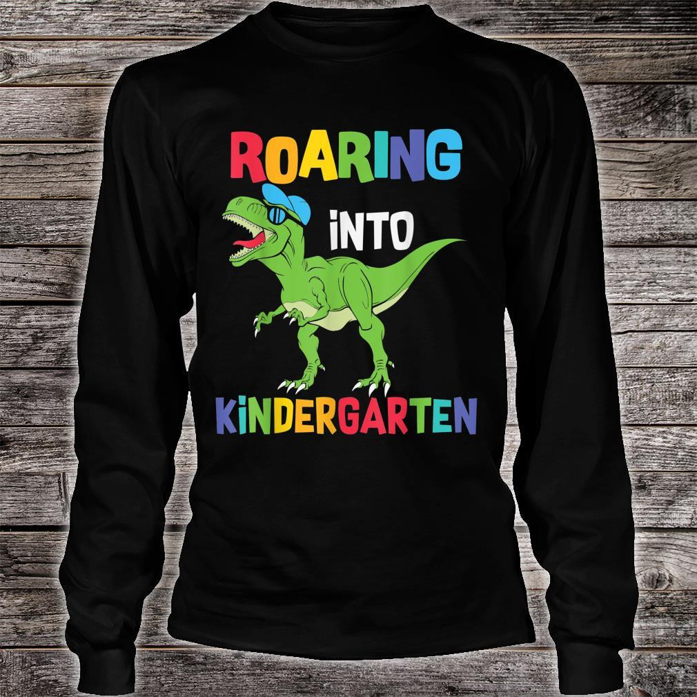 Roaring Kindergarten Dinosaur T Rex Back to School Boys Shirt long sleeved