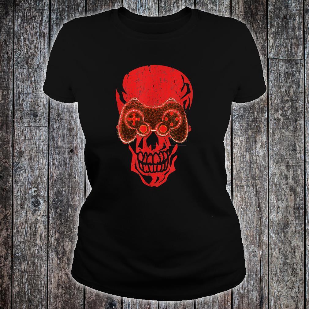 Video Game Skull Gamer Skeleton Halloween Costume Shirt ladies tee