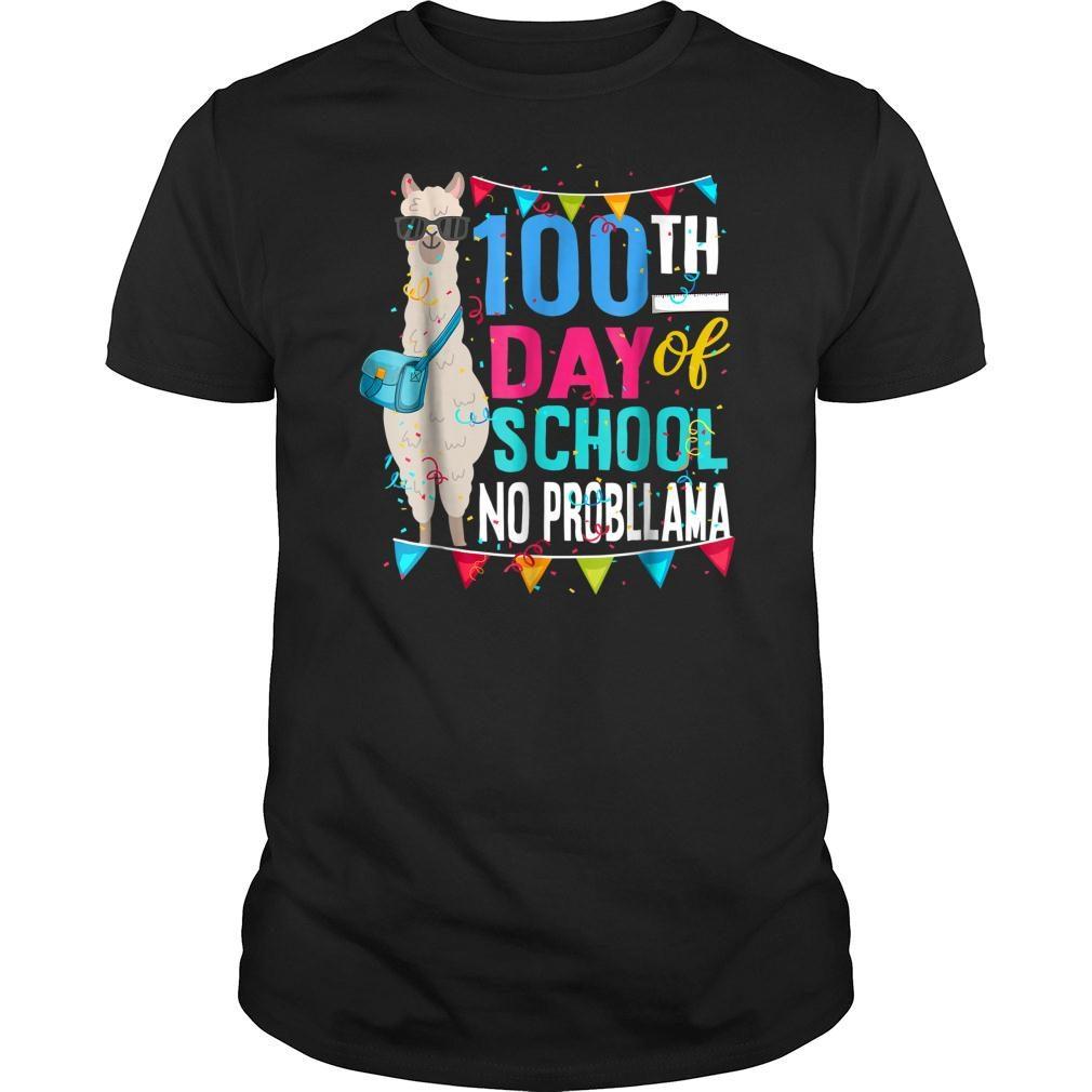 100 Days Of School No Probllama Llama Shirt