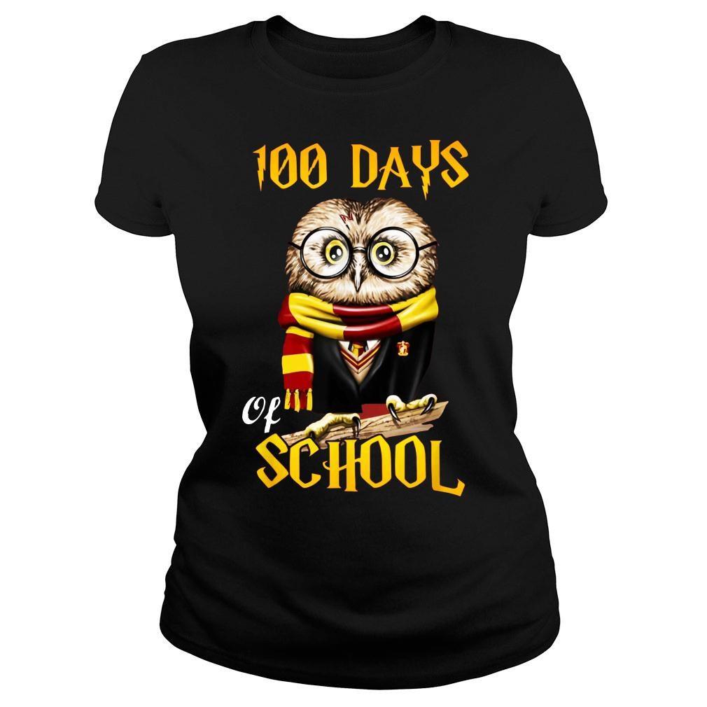 100 Days Owl of school Gryffindor Magic Wizard shirt ladies tee