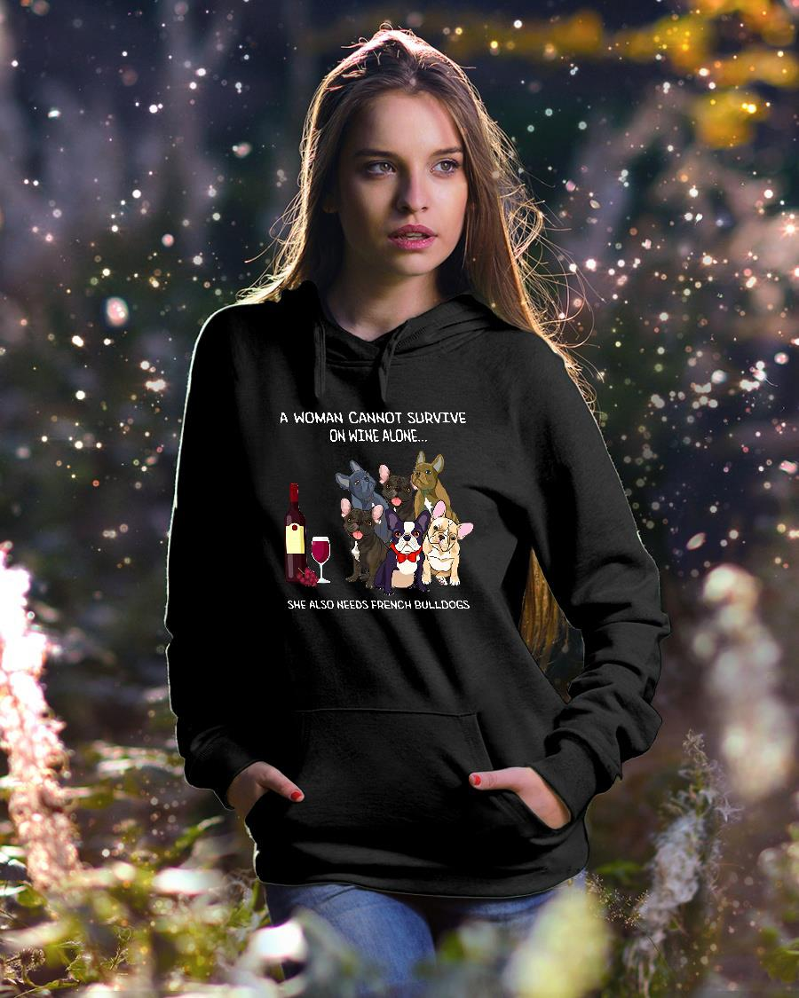 A woman cannot survive on wine alone she also needs bulldogs kid shirt hoodie unisex