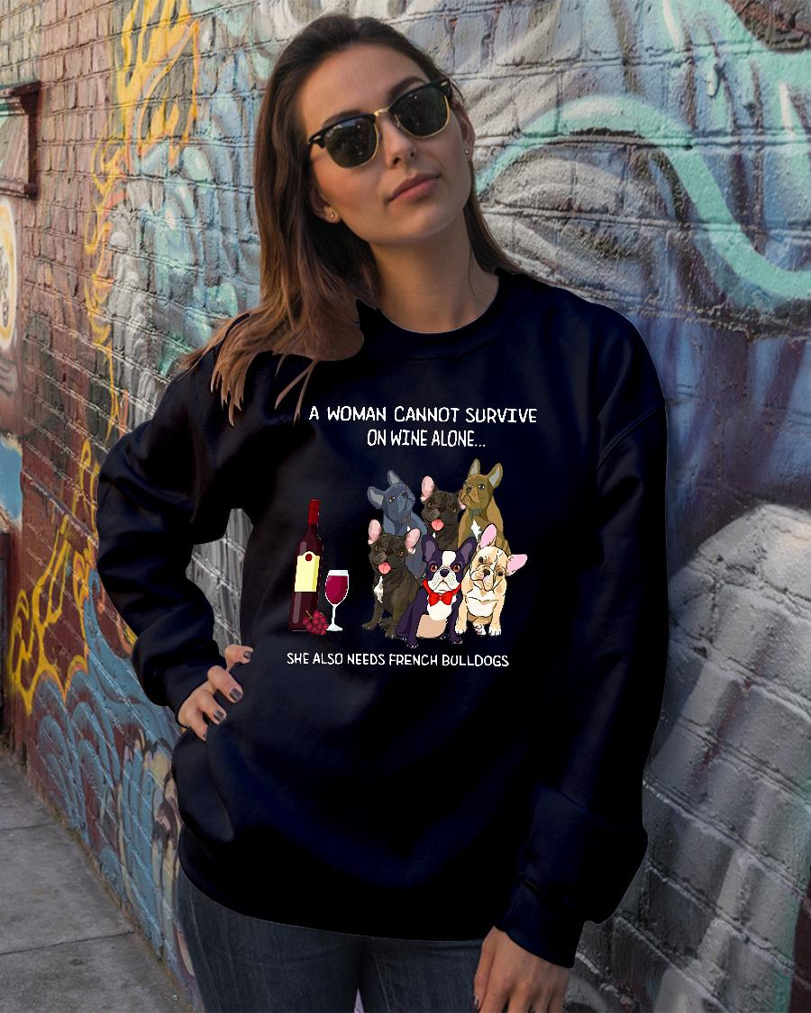 A woman cannot survive on wine alone she also needs bulldogs kid shirt sweater official