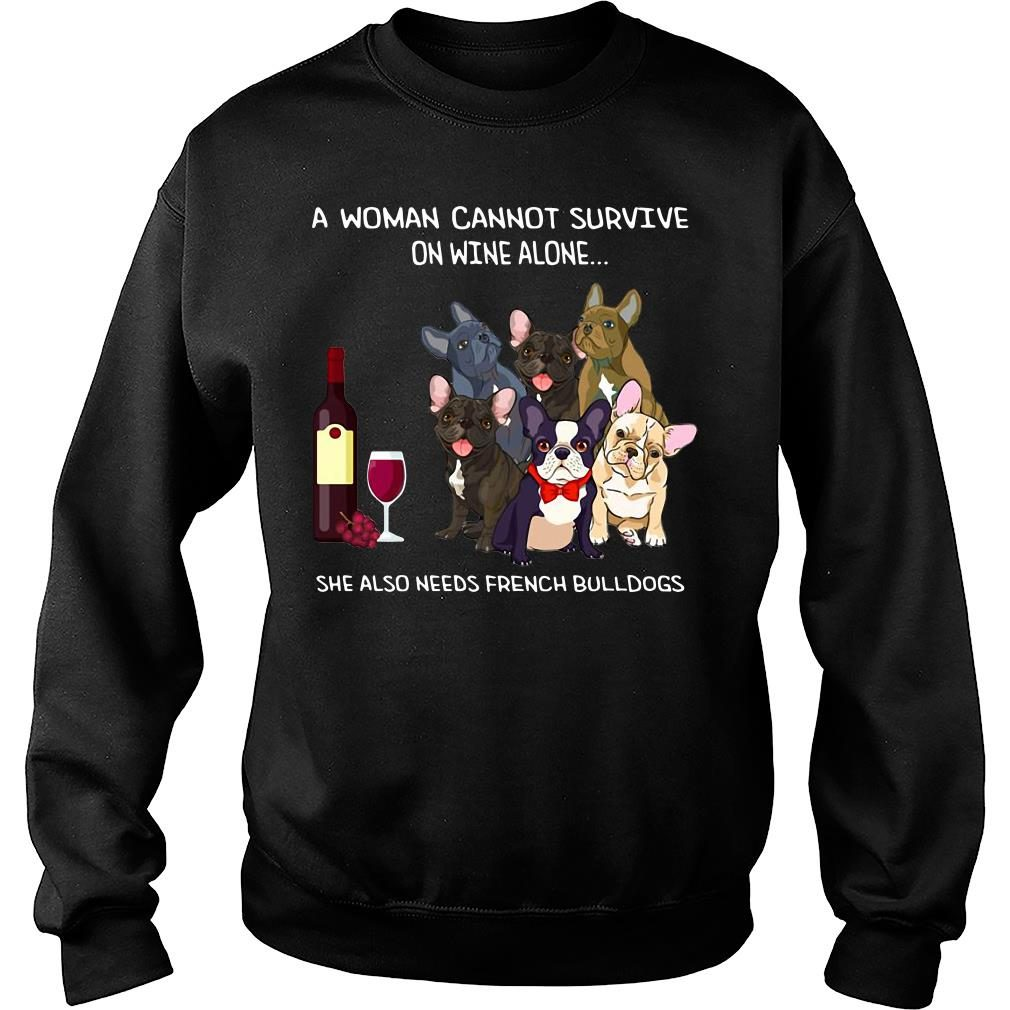 A woman cannot survive on wine alone she also needs bulldogs kid shirt sweater