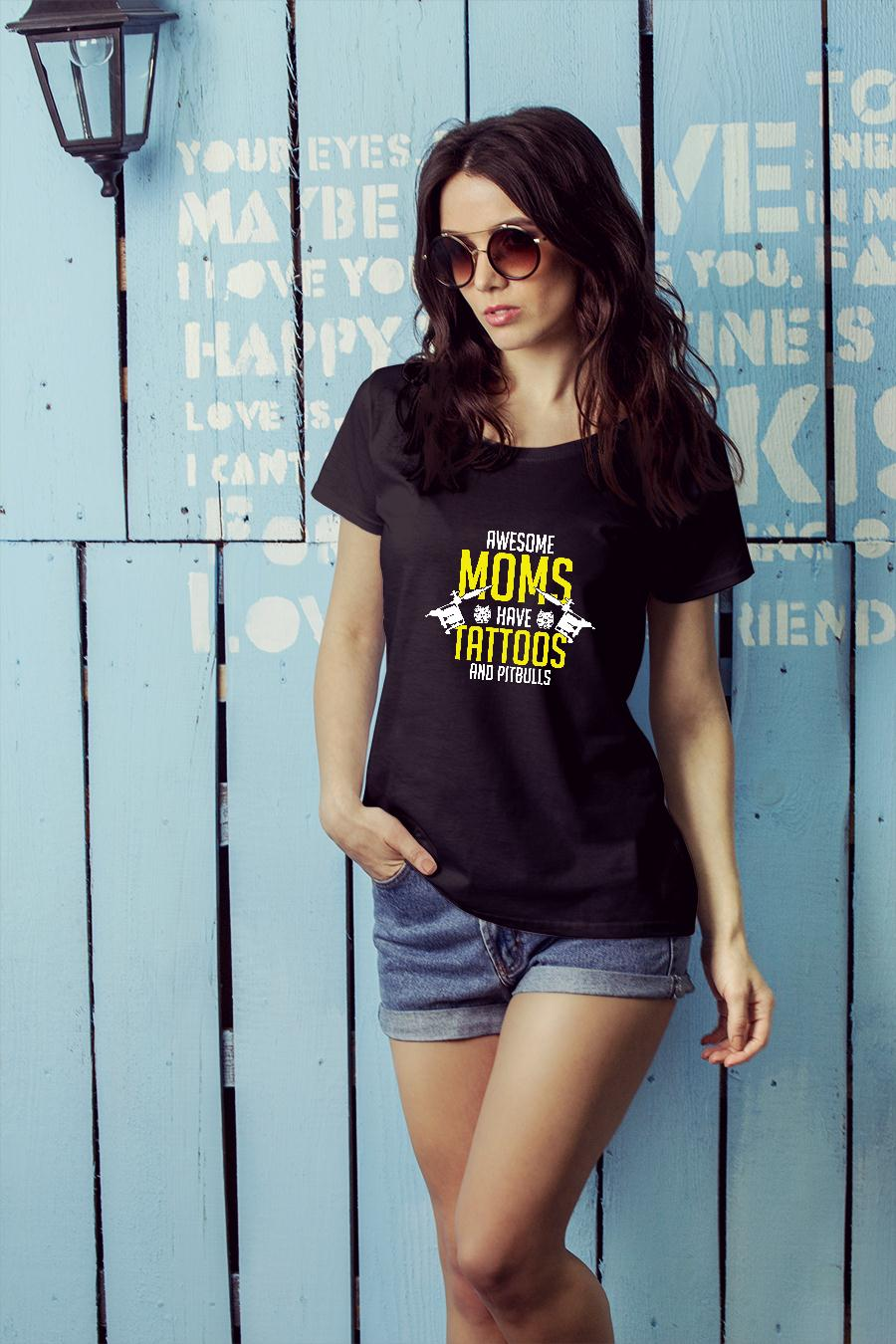 Awesome moms have tattoos and pitbulls shirt ladies tee official