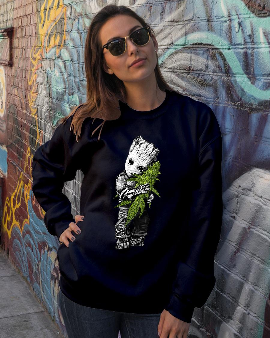 Baby Groot hugs weed shirt sweater official