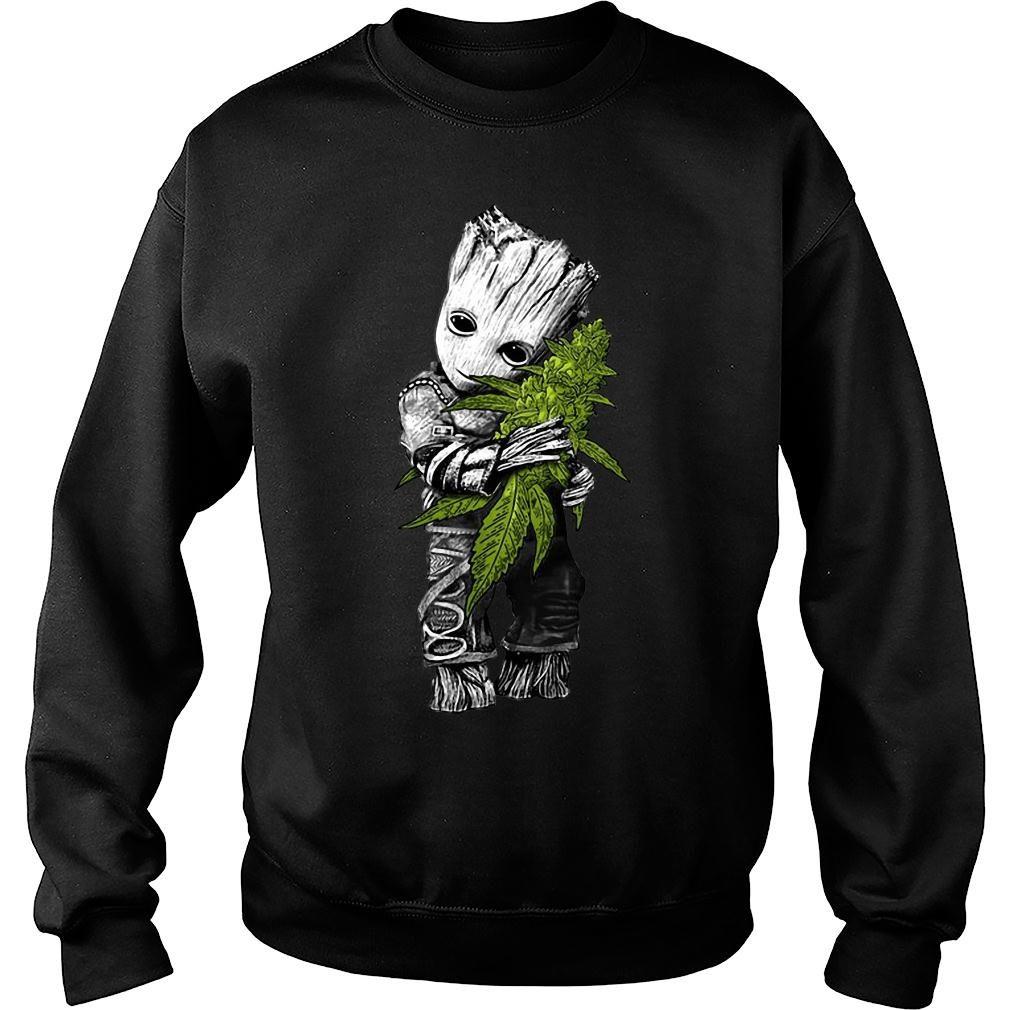 Baby Groot hugs weed shirt sweater