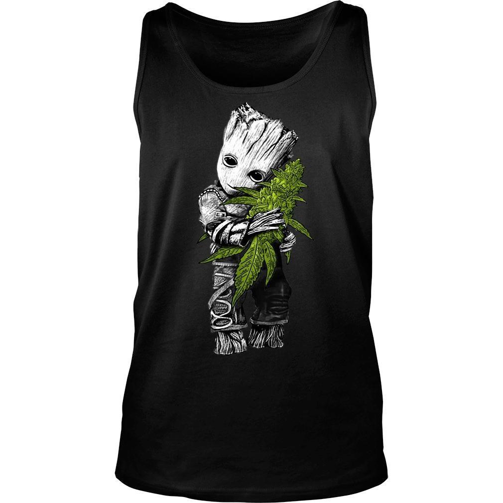 Baby Groot hugs weed shirt tank top