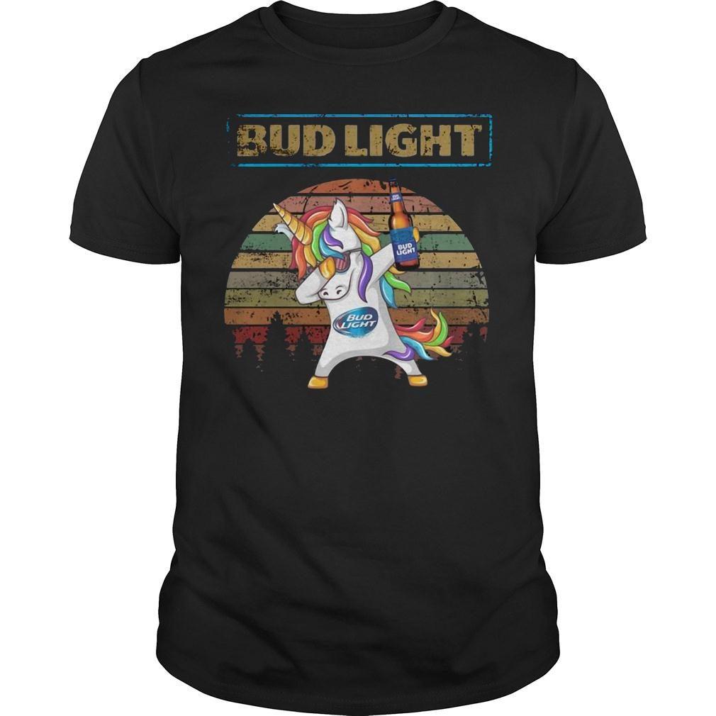 Bud light unicorn dabbing sunset retro vintage shirt