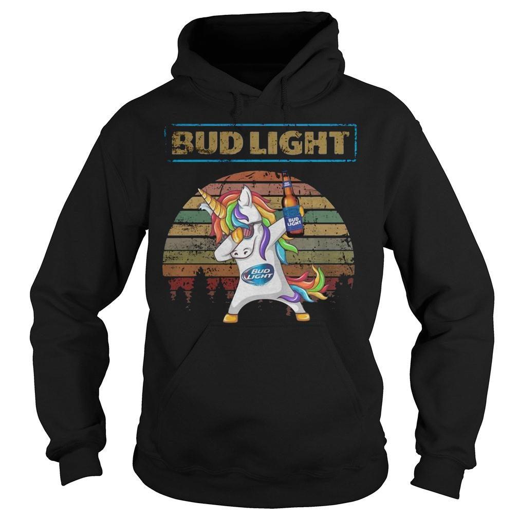 Bud light unicorn dabbing sunset retro vintage shirt hoodie