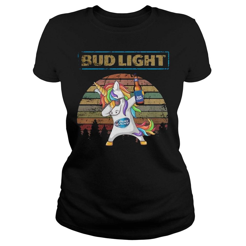 Bud light unicorn dabbing sunset retro vintage shirt ladies tee