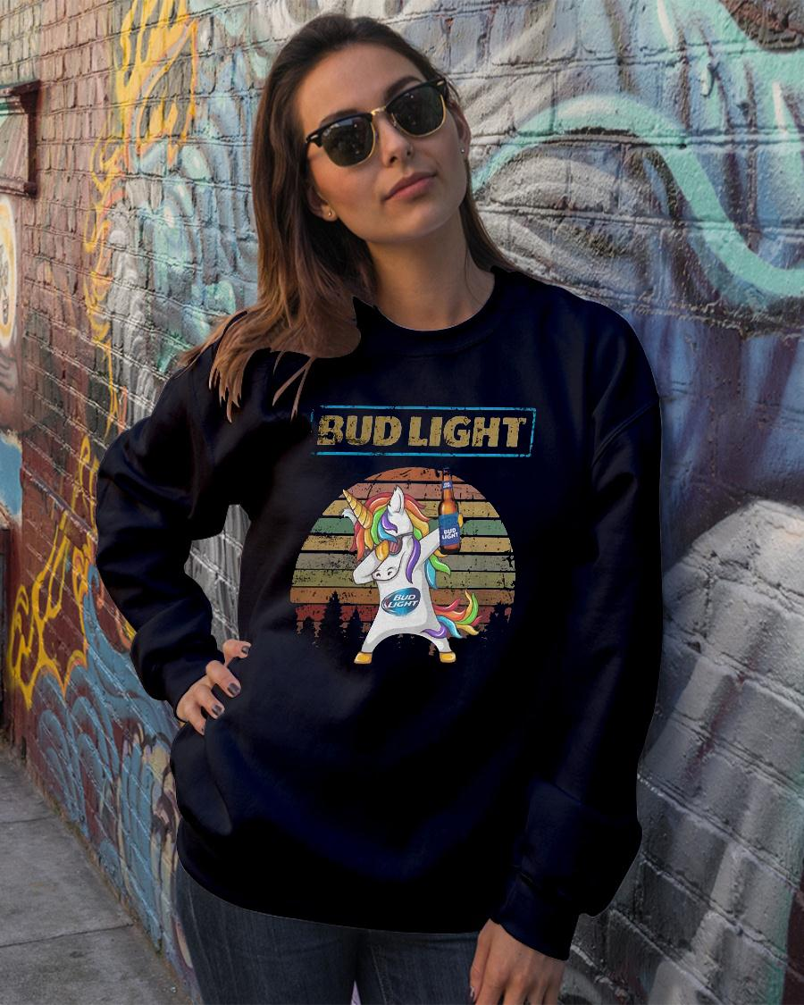 Bud light unicorn dabbing sunset retro vintage shirt sweater official