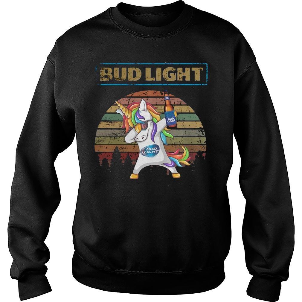 Bud light unicorn dabbing sunset retro vintage shirt sweater