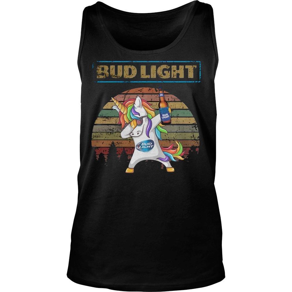 Bud light unicorn dabbing sunset retro vintage shirt tank top