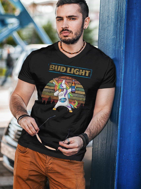 Bud light unicorn dabbing sunset retro vintage shirt unisex