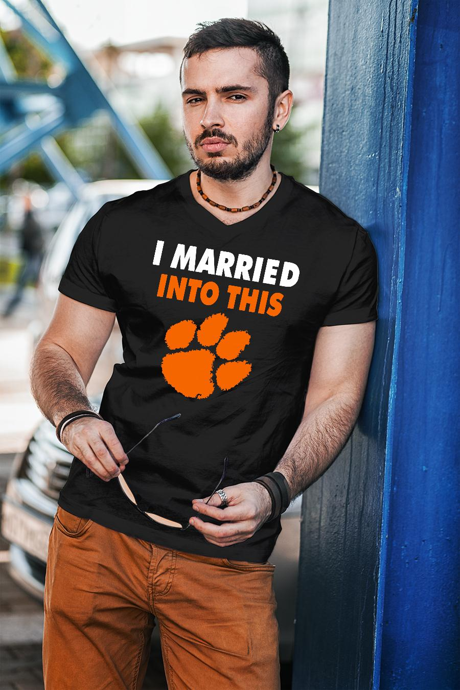 Clemson Tigers I Married Into This paw shirt unisex