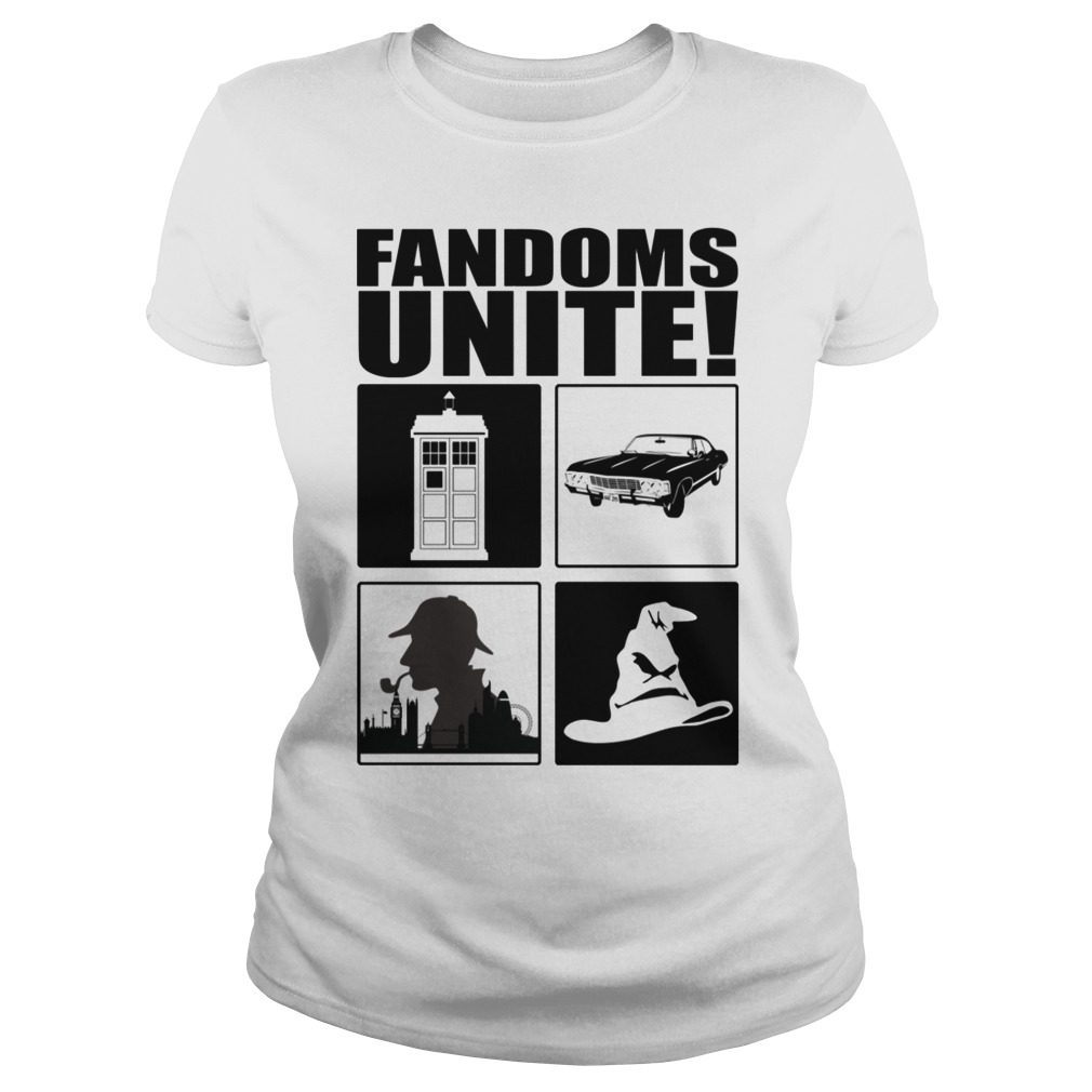 Fandoms Unite – Dr Who – Supernatural Shirt ladies tee