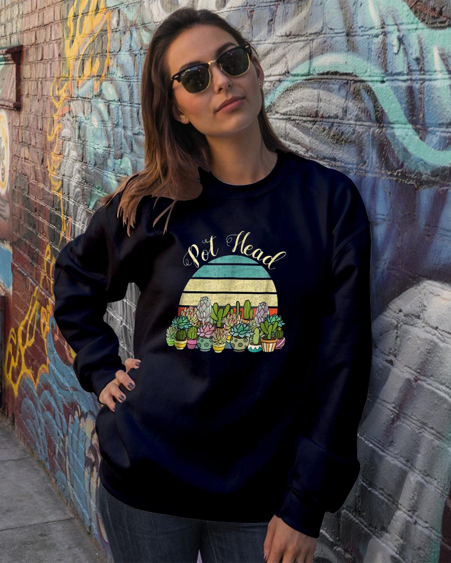 Funny PotHead with Succulents Cactus Stone Flowers TShirt sweater official