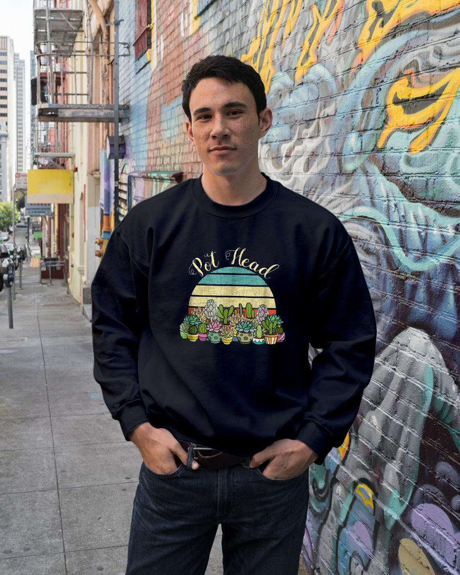 Funny PotHead with Succulents Cactus Stone Flowers TShirt sweater unisex