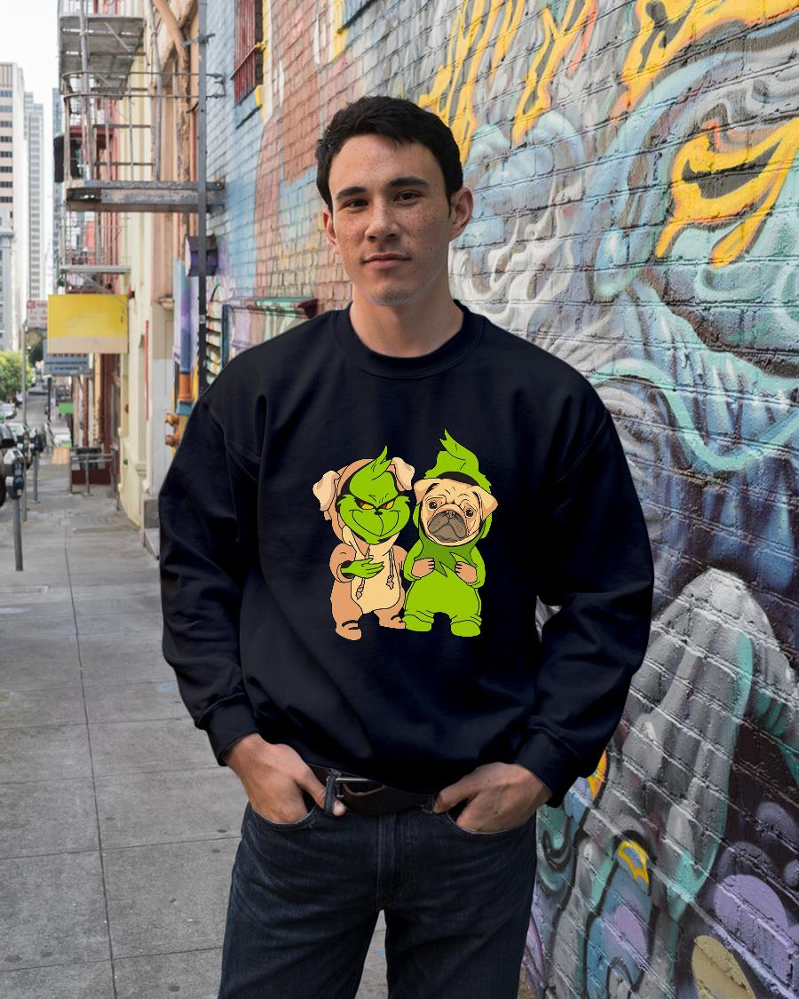Grinch and pug shirt sweater unisex