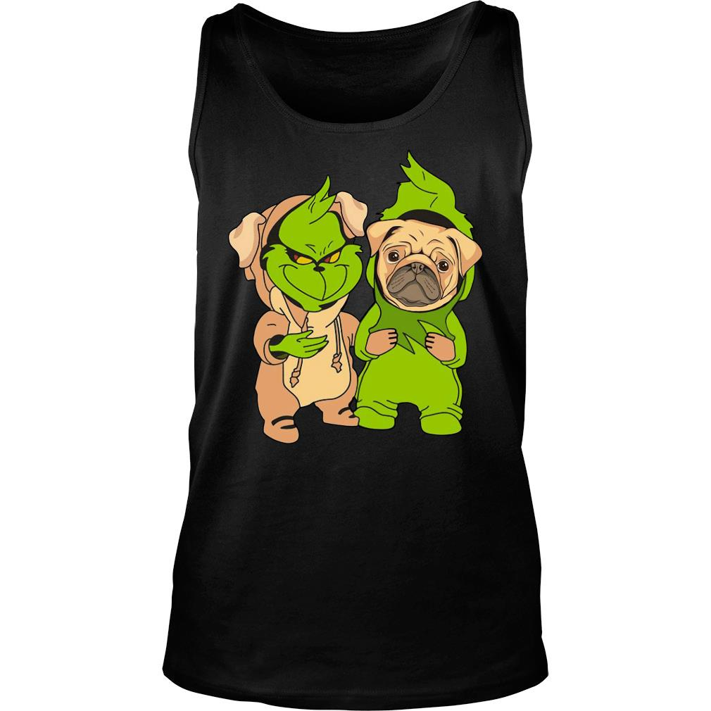 Grinch and pug shirt tank top