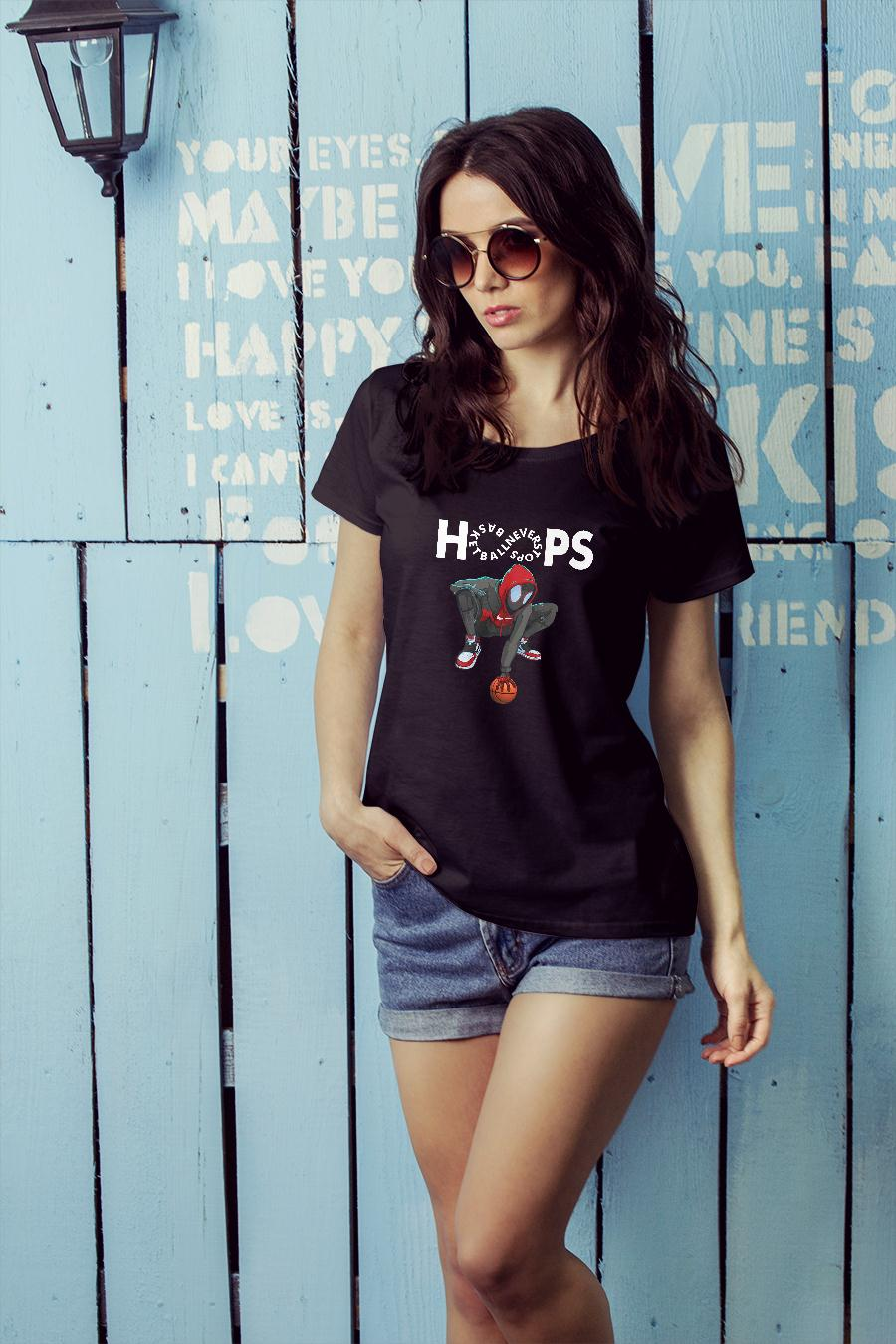 Hoops basketball never stops shirt ladies tee official