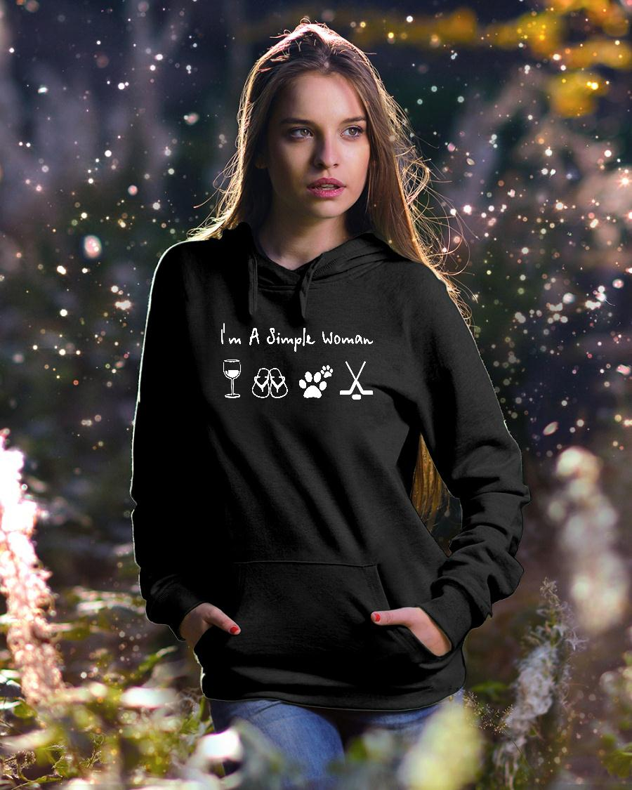 I'm A Simple Woman who loved wine filp flop paw dog and hockey shirt hoodie unisex