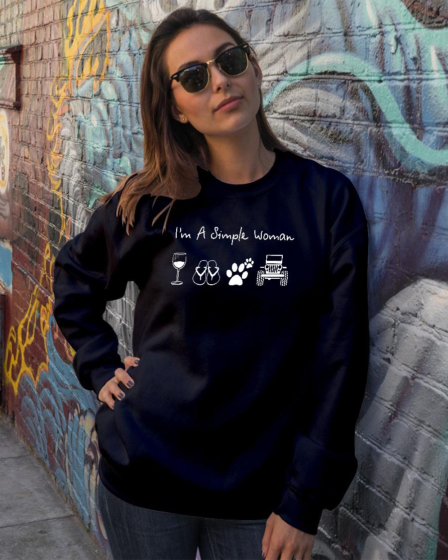 I'm a simple woman who loves wine flip flop dog and jeep shirt sweater official