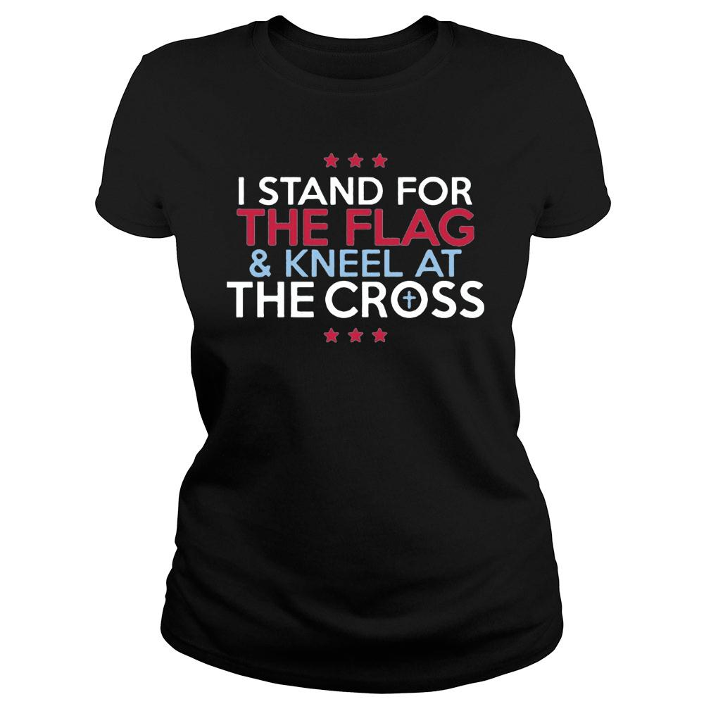 Interstate Apparel Men's I stand for the flag and kneel for the cross shirt ladies tee
