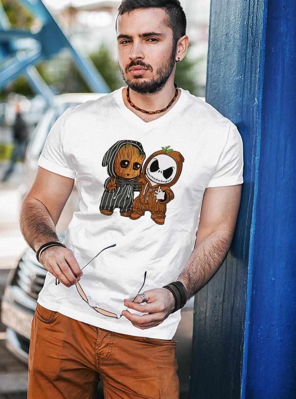 Jack Skellington Baby Groot Shirt unisex