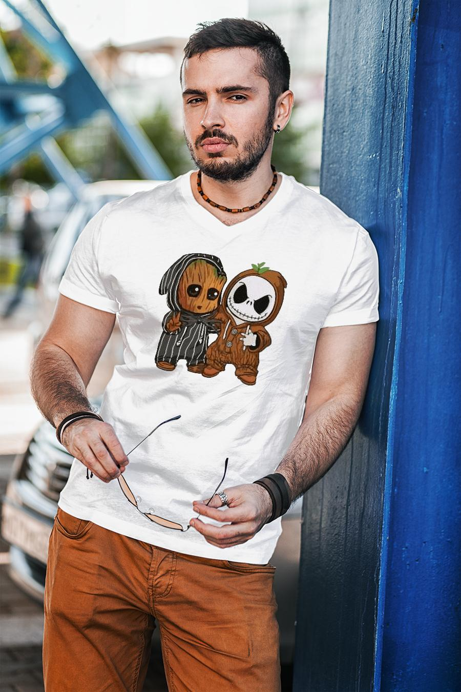 Jack Skellington Baby Groot Shirt unisex