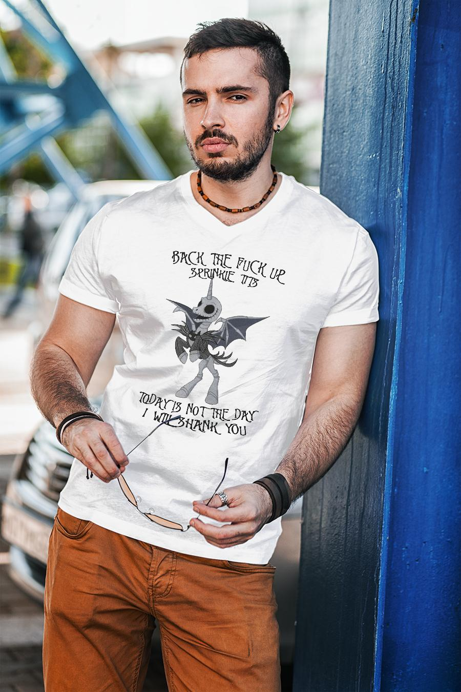 Jack Skellington unicorn back the fuck up sprinkle tits today is not the day shirt unisex