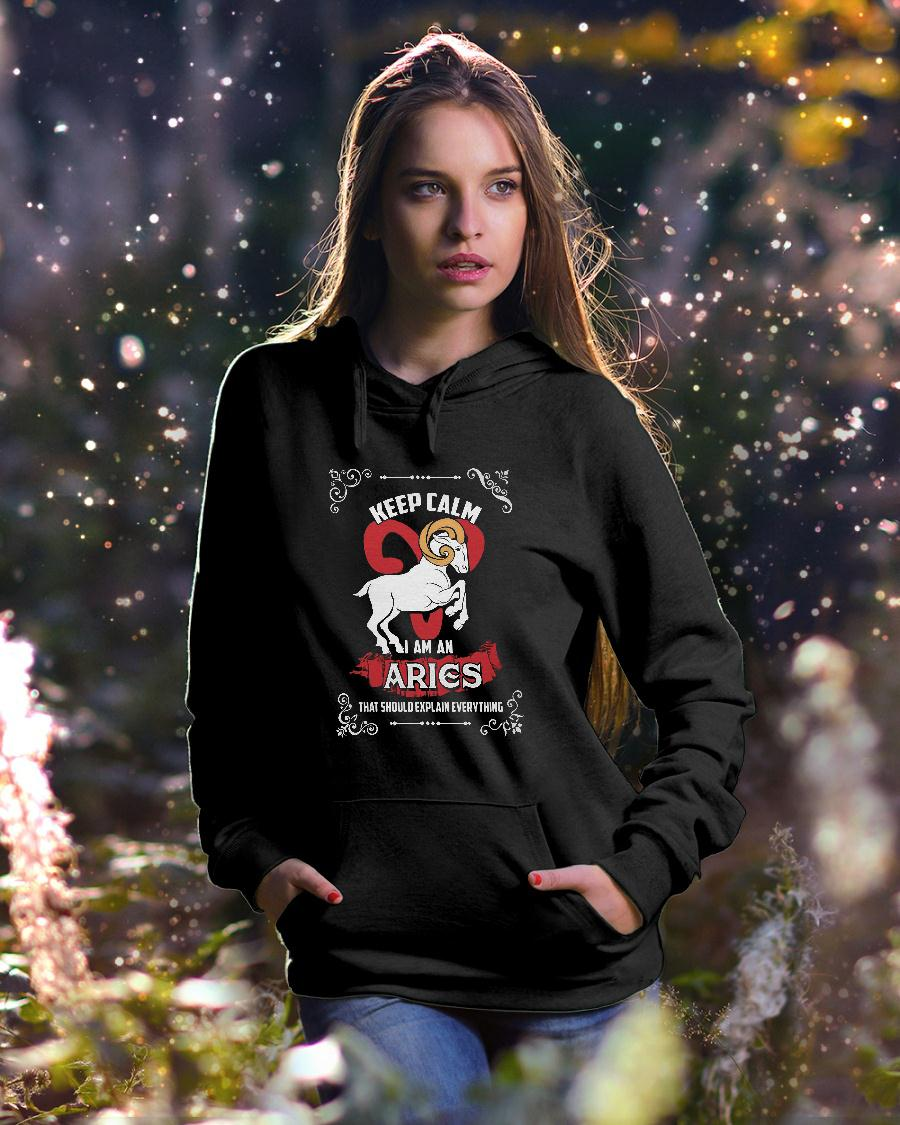 Keep calm i'm an aries that would explain everything shirt hoodie unisex