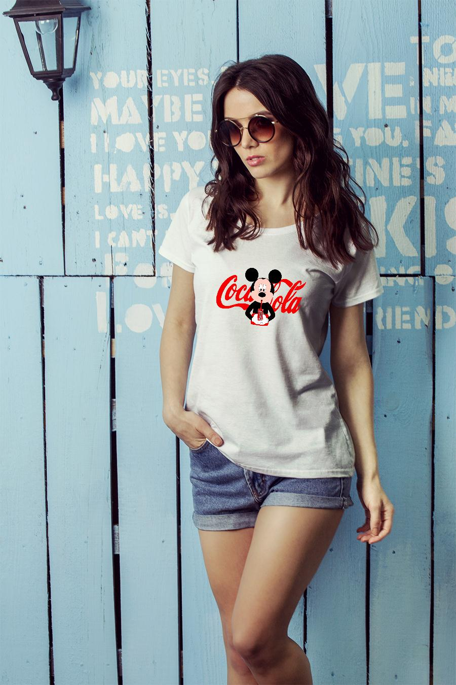 6a79dc8b2d6df6 Mickey Mouse drink coca cola shirt ladies tee official