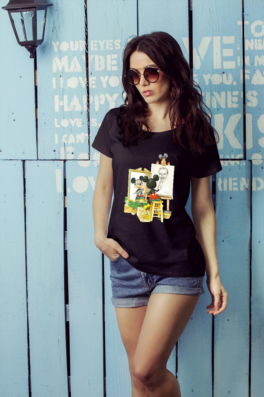 Mickey mouse drawing Walt Disney shirt ladies tee official