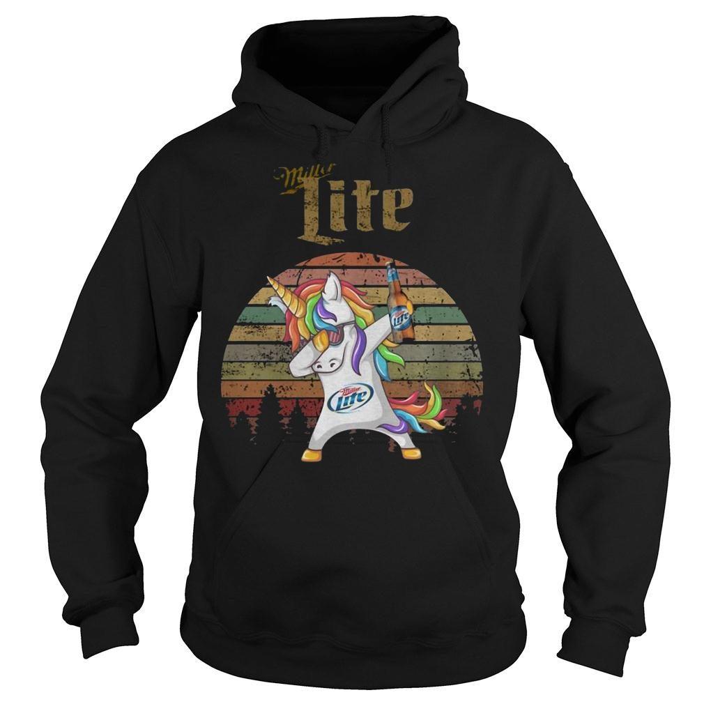 Miller lite unicorn dabbing sunset retro vintage shirt hoodie