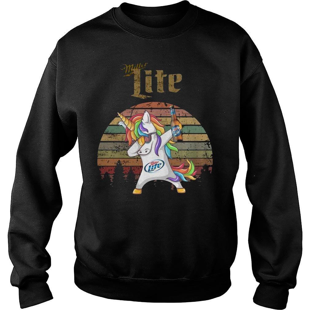 Miller lite unicorn dabbing sunset retro vintage shirt sweater