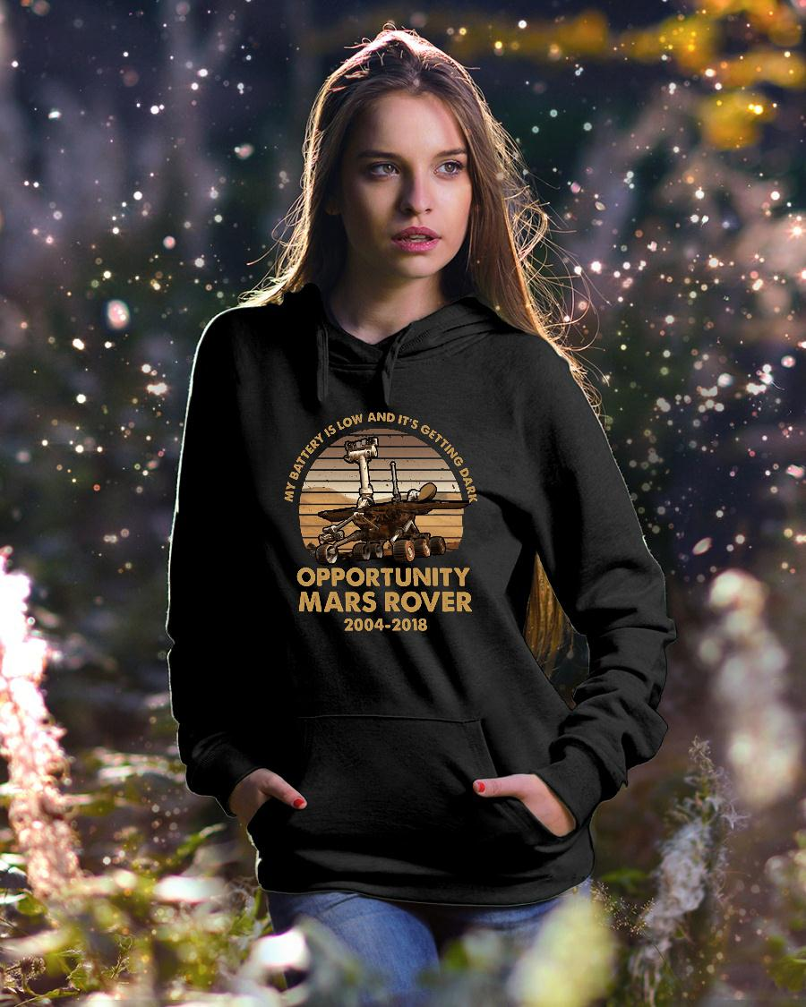 My battery is low and it's getting dark opportunity Mars Rover shirt hoodie unisex