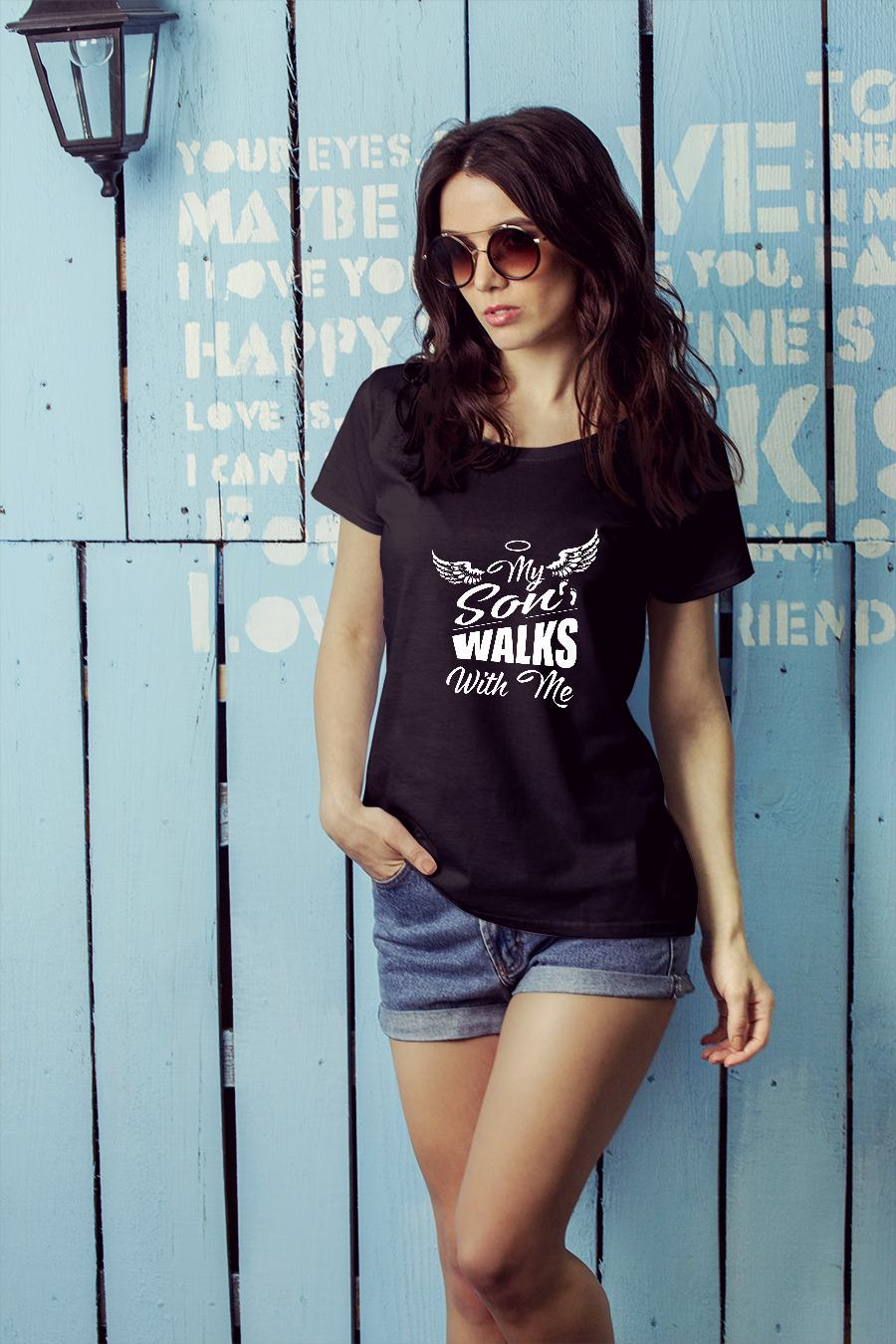 My son walks with me shirt ladies tee official
