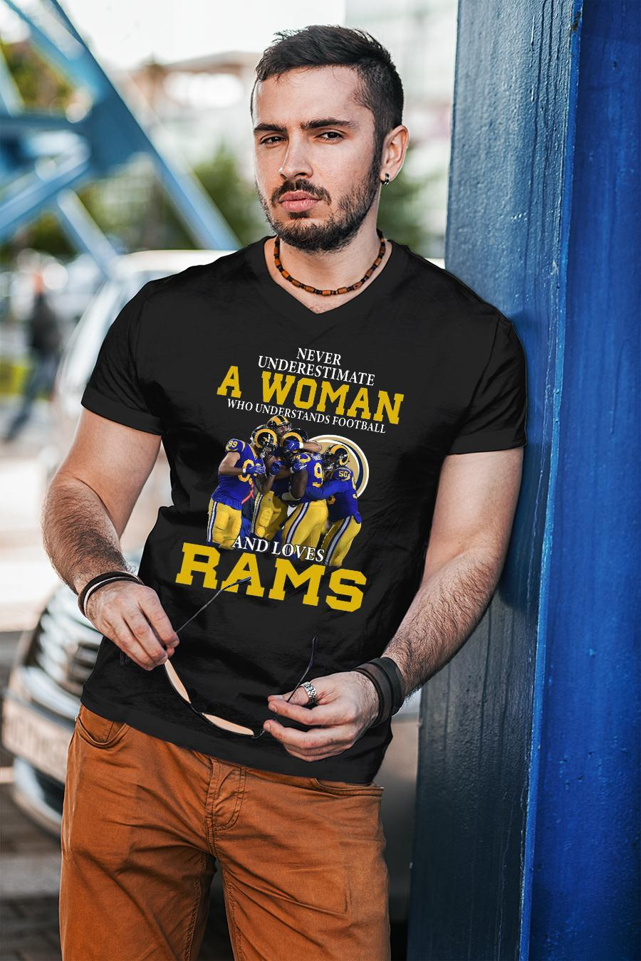 Never Underestimate A Woman Who Understands Football Loves Rams shirt unisex