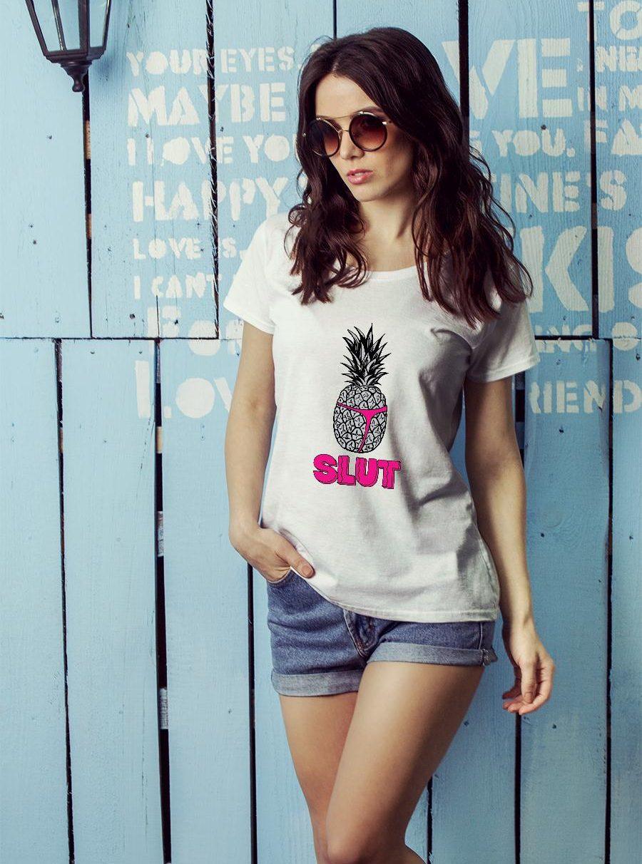 Pineapple Slut Sarcastic Novelty Funny Brooklyn Cotton Shirt ladies tee official
