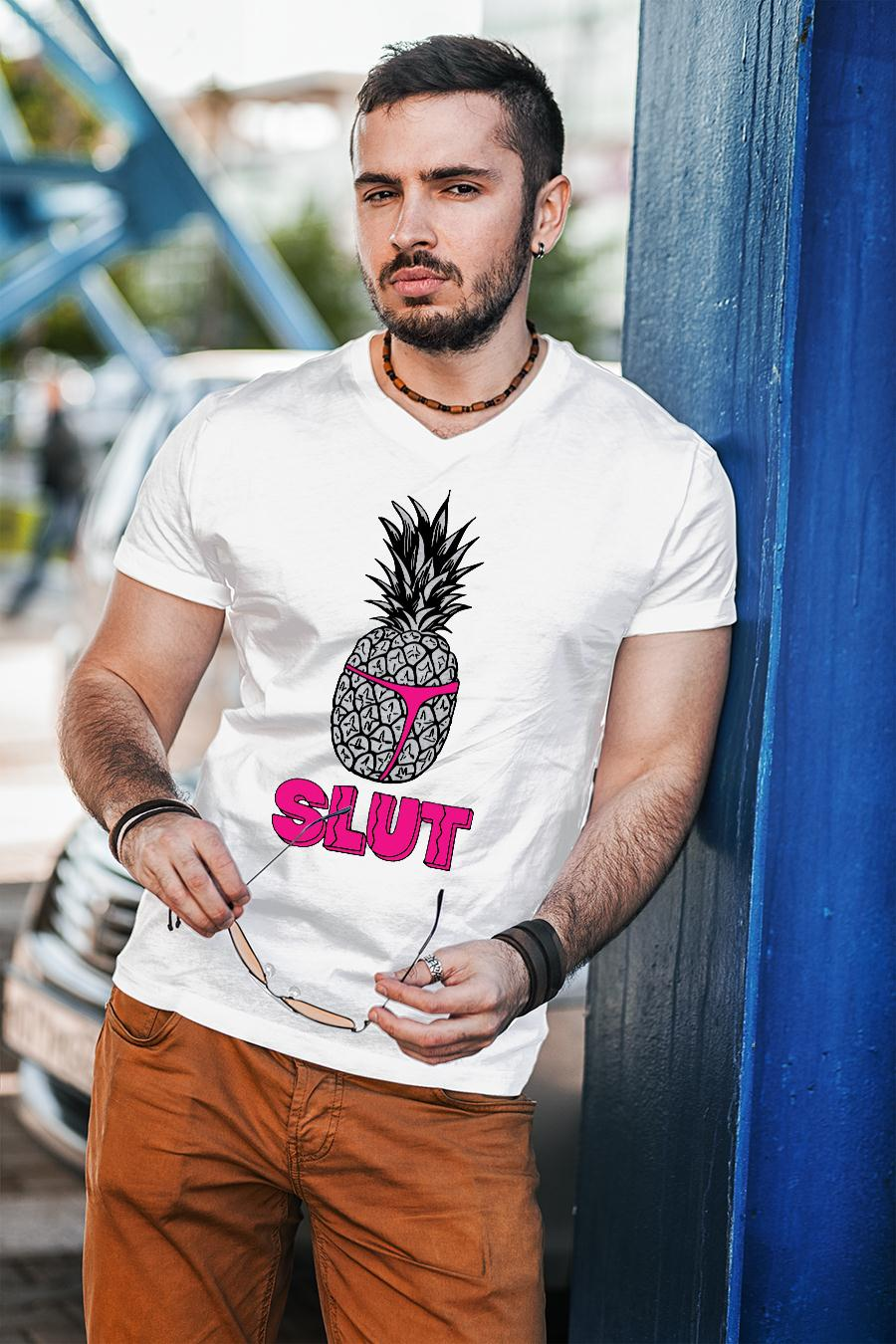 Pineapple Slut Sarcastic Novelty Funny Brooklyn Cotton Shirt unisex