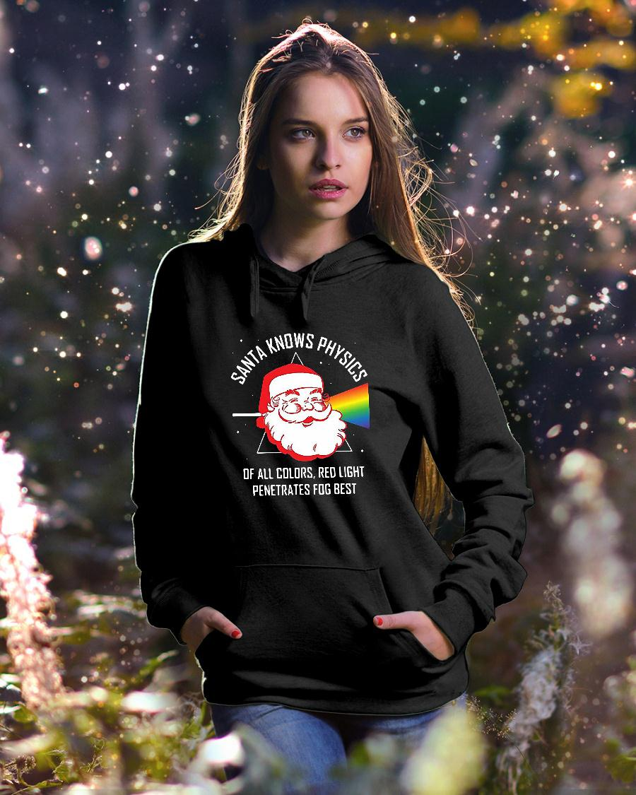 Santa knows physics of all colors red light shirt hoodie unisex